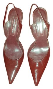 Sergio Rossi Burgundy Patent Leather Slingback Heels Size 38 Preloved Wine Pumps