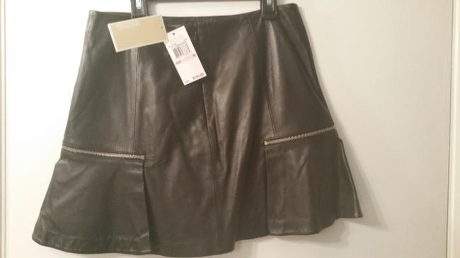 Michael Kors Mini Skirt Black leather with silver zipper