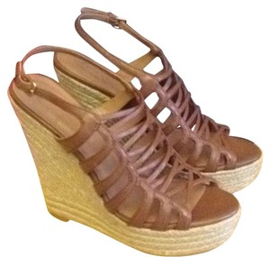 Elie Tahari Leather Wedge Brown Butterscotch Sandals