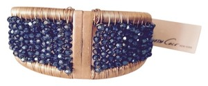 Kenneth Cole Kenneth Cole Gold-Tone Woven Blue Bead Hinged Bracelet Only! Matching Pieces Sold Seperately.