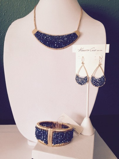 Kenneth Cole Kenneth Cole Gold-Tone Woven Blue Bead Dangle Earrings Only! Matching Pieces Sold Seperately.