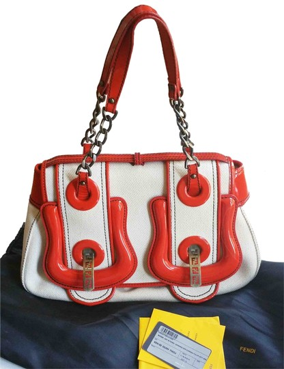 Preload https://item2.tradesy.com/images/fendi-jumbo-buckle-and-handbag-red-ivory-patent-leather-canvas-shoulder-bag-3250201-0-0.jpg?width=440&height=440