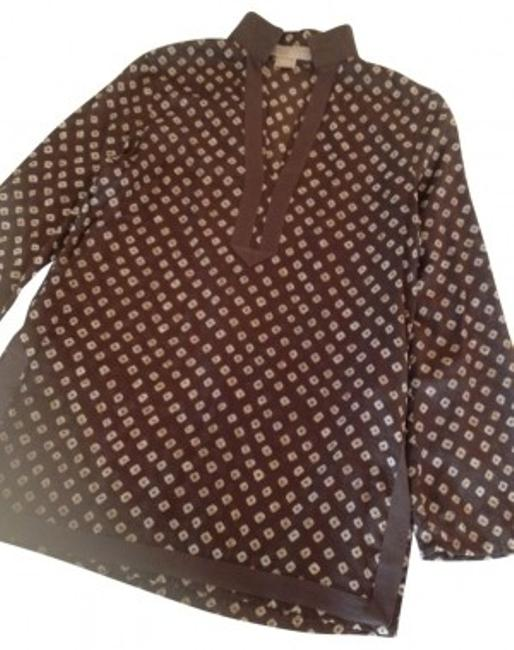 Preload https://item2.tradesy.com/images/michael-kors-brown-and-white-print-tunic-size-8-m-32506-0-0.jpg?width=400&height=650