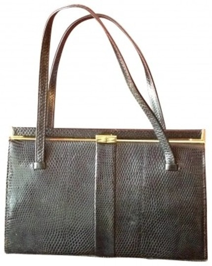 Mappin & Webb Vintage Kelly Real Snake Skin Uk Luxury Satchel in black
