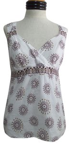 Ann Taylor LOFT Top White with Brown Geometric Print