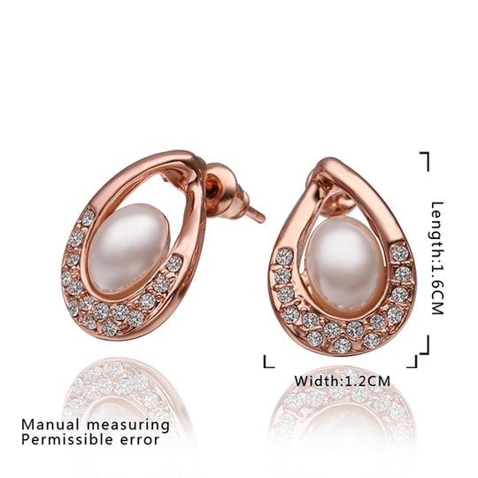 Other Australian Crystals Pearl Drop Earrings with 18k Rose Gold