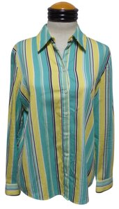 Jones New York Button Down Shirt Green Yellow White & Black Striped