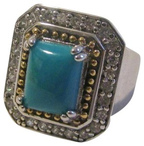 Technibond Technibond Platinum Plated Simulated Turquoise Ring Size 7