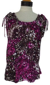 Worthington Top Black Fuchsia & Brown Geometric Print