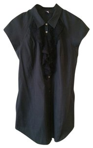 Free People Ruffle Lace Cotton Button Down Shirt Black