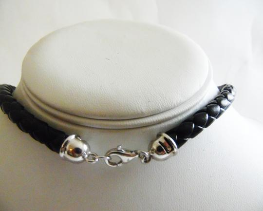 Real Collectibles by Adrienne .925 Sterling Silver 16 Inch Black Braided Cord & CZ Enhancer