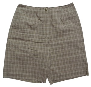 Liz Claiborne Bermuda Shorts Tan & Beige Checkered Print