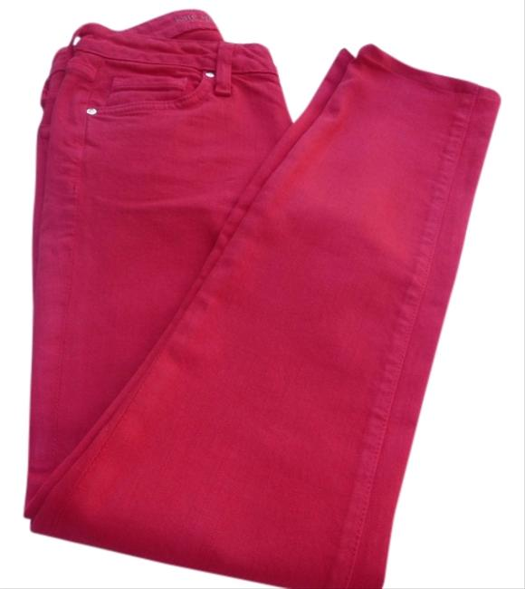 Item - Red Coated Skinny Capri/Cropped Jeans Size 24 (0, XS)