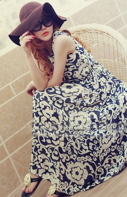 Blue White Maxi Dress by Other