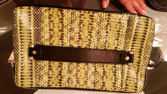 MILLY black/ lime green snake clutch Clutch