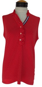 Lands' End Top Red with White Polka Dots