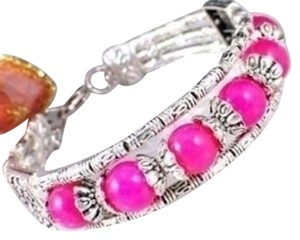 Other New Tibet Silver Hot Pink Jade Bangle Bracelet