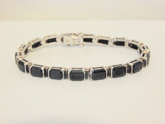Other .925 Sterling Silver Black Onyx Line Bracelet Fits 7.5 Wrist QVC