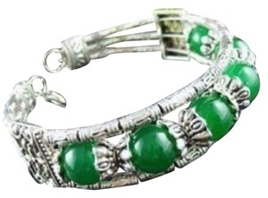 New Tibet Silver Green Jade Bangle Bracelet