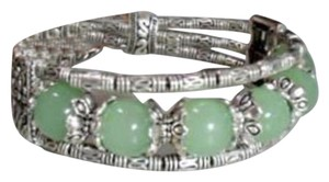 Other New Tibet Silver Light Green Jade Bangle Bracelet