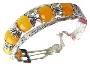 Other New Tibet Silver Yellow Jade Bangle Bracelet