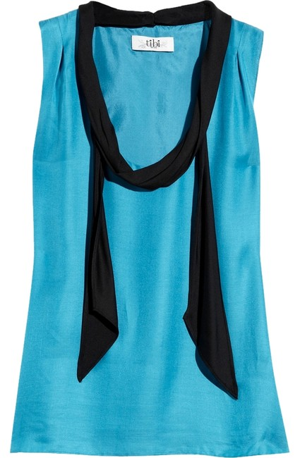 Preload https://item2.tradesy.com/images/tibi-turquoise-cotton-silk-blend-with-a-black-scarf-blouse-size-8-m-3253381-0-0.jpg?width=400&height=650