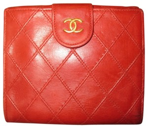 7ac919b47a25 Chanel Chanel French Red Lambksin Quilted Leather Wallet Double Flap Sided  CC Logo Gold Hardware GHW