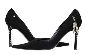 Cesare Paciotti Cristals Chain Comfortable Black Pumps