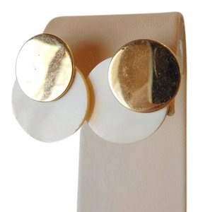 BARMAKIAN AUTHENTIC 14K YELLOW GOLD AND IVORY EARRINGS=STRIKING AND UNUSUAL
