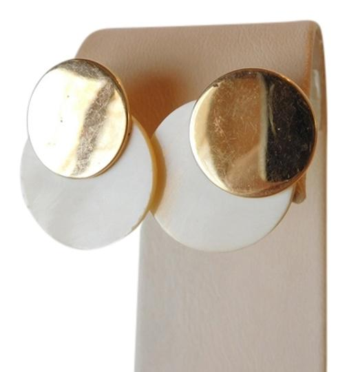 MENDELSON VINTAGE 14K YELLOW GOLD AND IVORY STUD EARRINGS