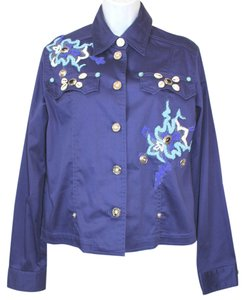 Camomilla Milano Embellished Cotton Stretch 18 BLUE Jacket