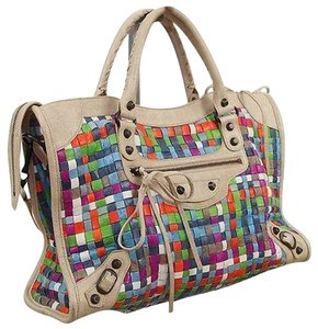 Balenciaga Tote in Multicolored, beige handles