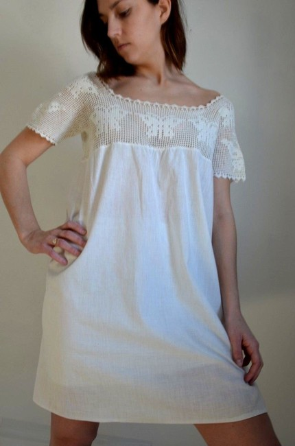 Other short dress white Cotton Mini Tunic on Tradesy
