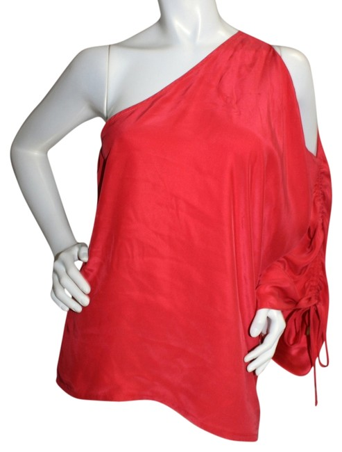 Karina Grimaldi One Shoulder Red Silk Top