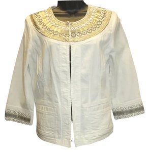 Chico's Embellished White Cotton Top