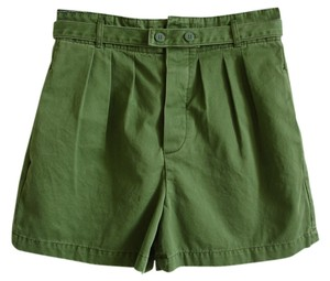 Marc by Marc Jacobs Green High Waisted High-waisted Belted Military High Waist Pleated Military High-waisted High-waist Mini/Short Shorts military green