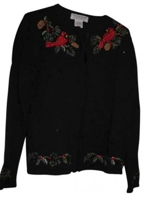 Preload https://item1.tradesy.com/images/tiara-international-black-zip-front-cardigan-sweaterpullover-size-12-l-32565-0-0.jpg?width=400&height=650