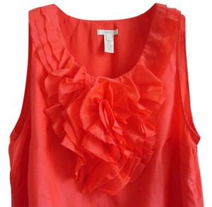 J.Crew Red Ruffle Flower Embellished Size10 Decorative Ruffle Red Red Ruffle Embellished Top bright red