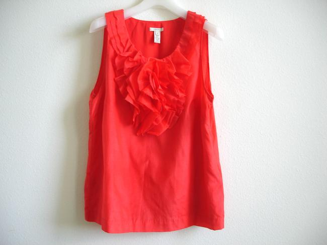 J.Crew Ruffle Flower Embellished Size10 Decorative Ruffle Ruffle Tops Embellished Tops Top bright red