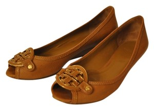 Tory Burch Selma Ballet Open Toe Leather Tan Flats