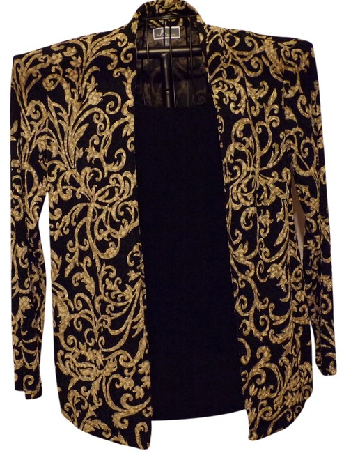JM Collection Womens Faux 2 Pc. Soft Gold Metallic Top Blk/Gold Le Fleur Pattern