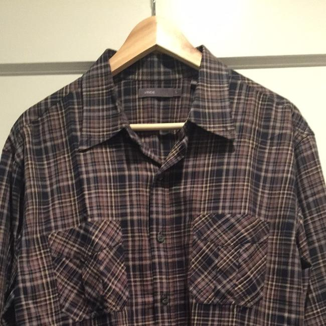 Vince Button Down Shirt Navy And Brown