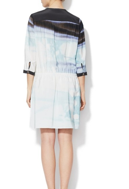 Diane von Furstenberg short dress white and blue Charcoal Shirtdress Shirt Three Quarter Sleeve Elastic Waist Marielle on Tradesy