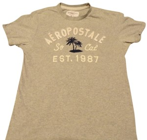 Aeropostale Vintage T Shirt Heather Gray w SoCal 87 & Palm trees Embrodery