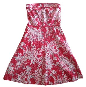 Speechless short dress Red & White Bow Floral Strapless on Tradesy