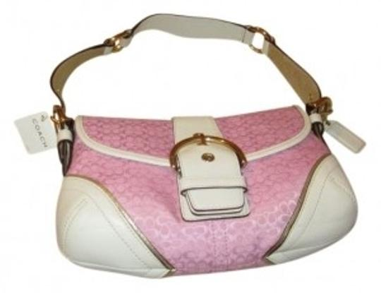 Preload https://item5.tradesy.com/images/coach-pink-and-white-leather-fabric-shoulder-bag-32599-0-0.jpg?width=440&height=440