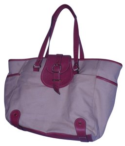 Isaac Mizrahi Diaper Weekends Shopping Travelling Handbag Tote in Beige/pink