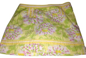 Lilly Pulitzer Yellow Pink Yellow Light Pink Light Pink Green Whtie Light Yellow Short Skirt