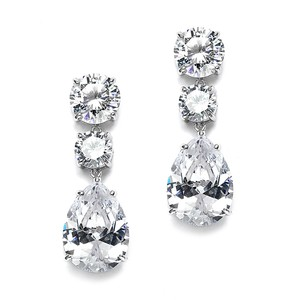 Mariell Silver Bold Shape Cubic Zirconia Or Party 3655e Earrings