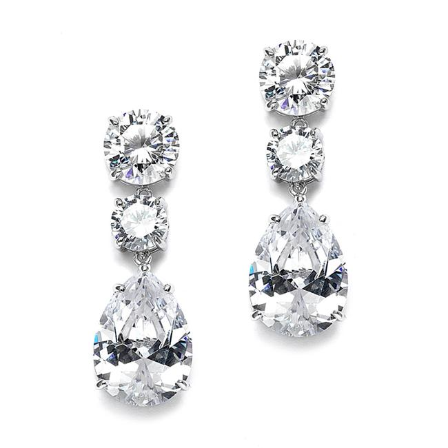 Item - Silver Bold Shape Cubic Zirconia Or Party 3655e Earrings